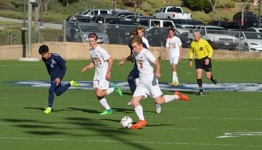 Thacher senior JJ Mazzola plays the ball forward against host Linfield Christian in the CIF-Southern Section Division 7 semifinals.