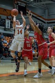Ventura College freshman guard Victoria Maciel drives to the basket in a win over visiting Santa Barbara City on Jan. 19.
