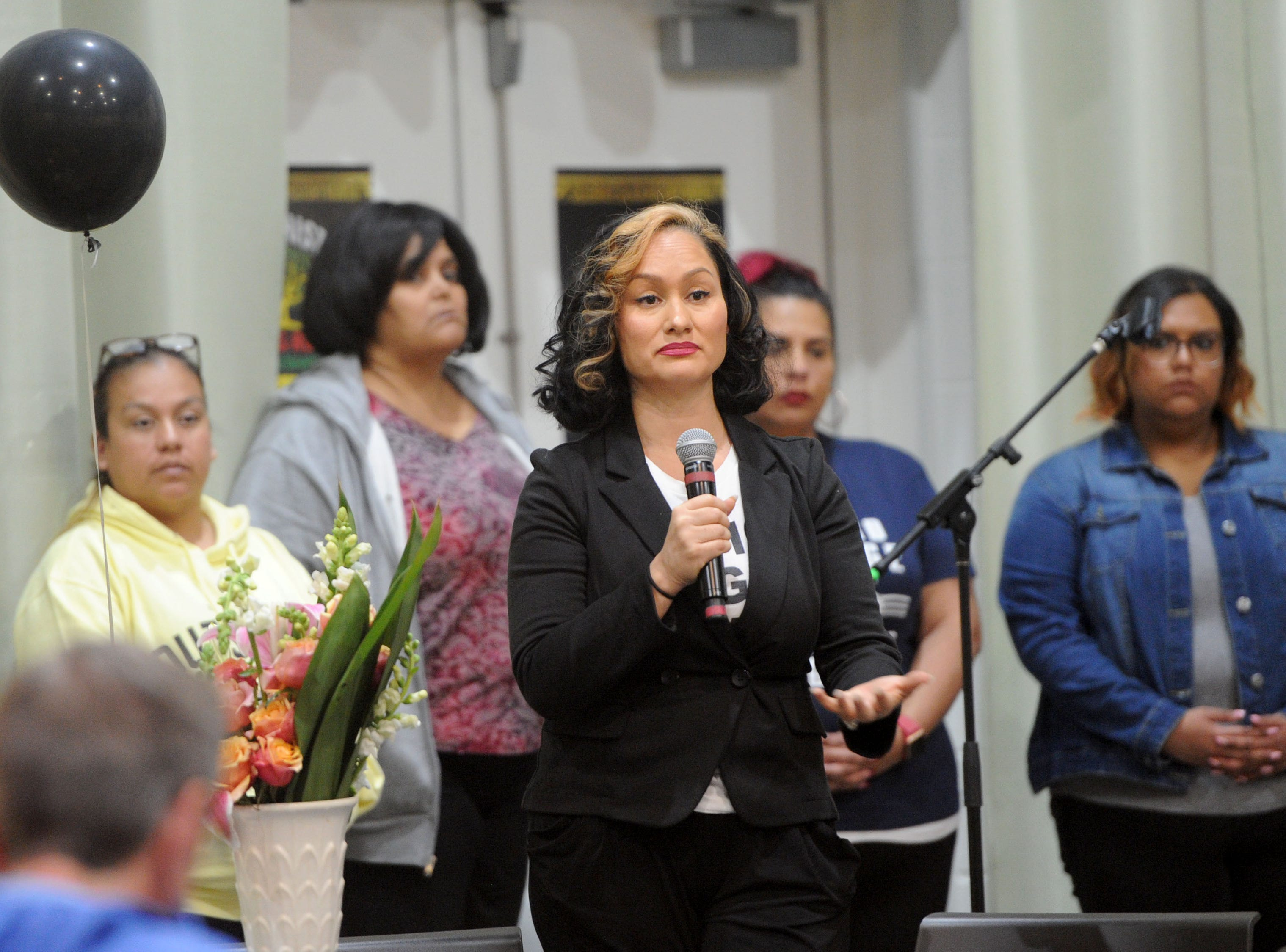 Carmen Perez, nationally known activist and Oxnard native, takes some  questions after her speech Wednesday at a Black History Month event at Oxnard College. Perez is best known as being one of the co-chairs of the national Women's March movement.