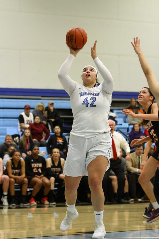 Hawaii-bound center Barbara Rangel had 17 points and 13 rebounds in the Moorpark College women's basketball team's 96-82 win over visiting Ventura College on Feb. 6 at Raider Pavilion.