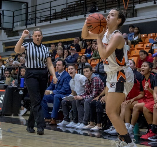 Ventura College freshman guard Madison Cvijanovich attempts a 3-point shot in a win over visiting Santa Babara City on Jan. 19.