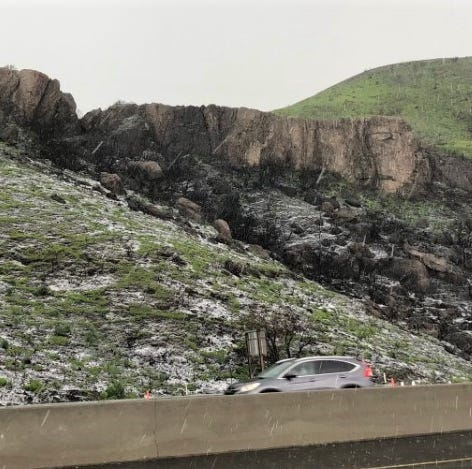 Snow, hail fall in Conejo, Camarillo; Highway 33 closed
