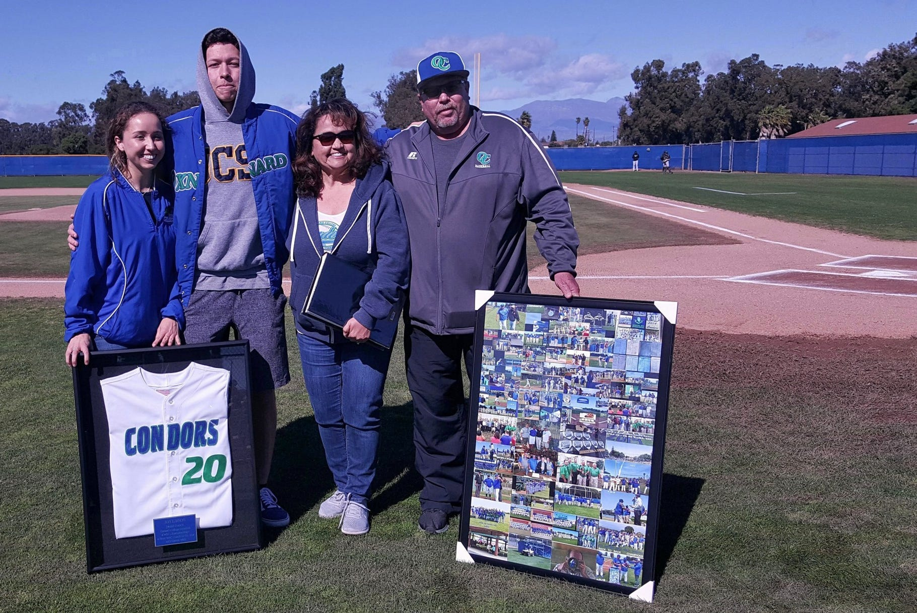 Oxnard College baseball honored former head coach Jon Larson, right, last Saturday afternoon at the Condors' Nest.