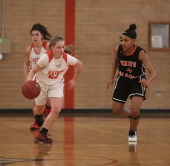 North Rockland's Lina Dimarsico (23) dribbles the ball up court against White Plains' Aliya McIver (4) during the class AA girls basketball playoff game at North Rockland High School in Thiells on Thursday, February 21, 2019.