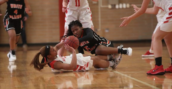 North Rockland defeats White Plains 49-38 in the class AA girls basketball playoff game at North Rockland High School in Thiells on Thursday, February 21, 2019.