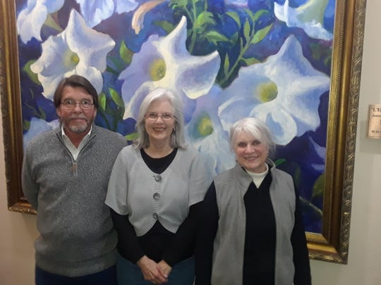 Winners for the January Wichita Falls Poetry Society  contest (left to right): Mark Sutton (third place), Sheri Sutton (second place), and Rosellen Sheetz (first place).