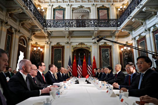 U.S. and Chinese delegations meet in the Indian Treaty Room in the Eisenhower Executive Office Building on the White House complex, during continuing meetings on the U.S.-China bilateral trade relationship, Thursday, Feb. 21, 2019, in Washington.