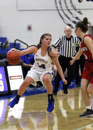 Maysville's Bailee Smith brings the ball down the floor against Beaver Local. Smith was named second team All-Ohio.