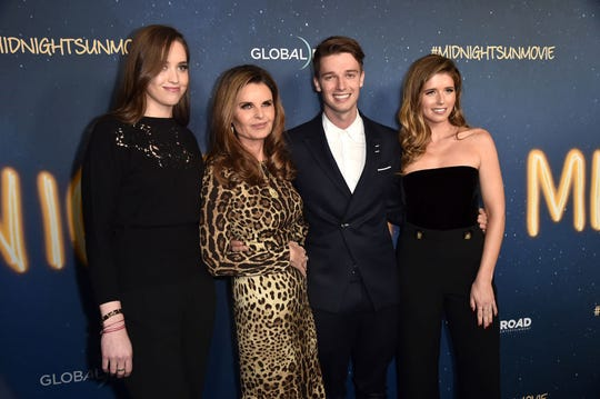 "Christina Schwarzenegger, from left, Maria Shriver, Patrick Schwarzenegger and Katherine Schwarzenegger attend Global Road Entertainment's world premiere of ""Midnight Sun"" on March 15, 2018 in Hollywood."