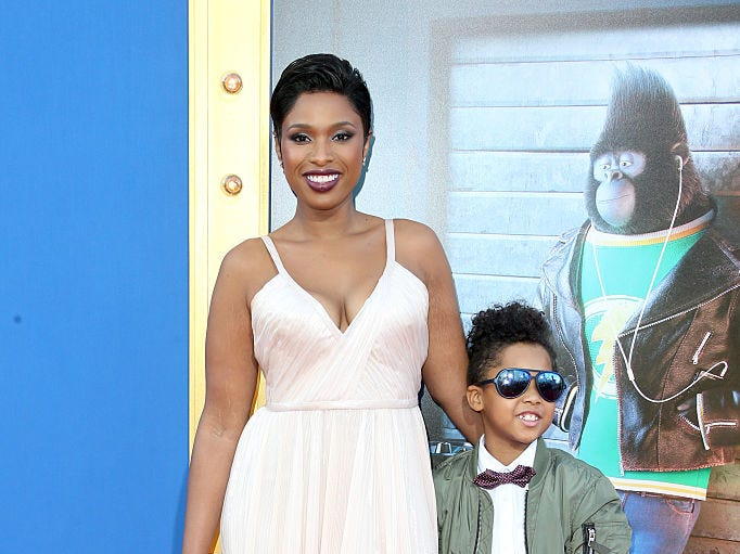 "Actress/singer Jennifer Hudson and son David Daniel Otunga Jr. attend the premiere Of Universal Pictures' ""Sing"" on December 3, 2016 in Los Angeles, California."