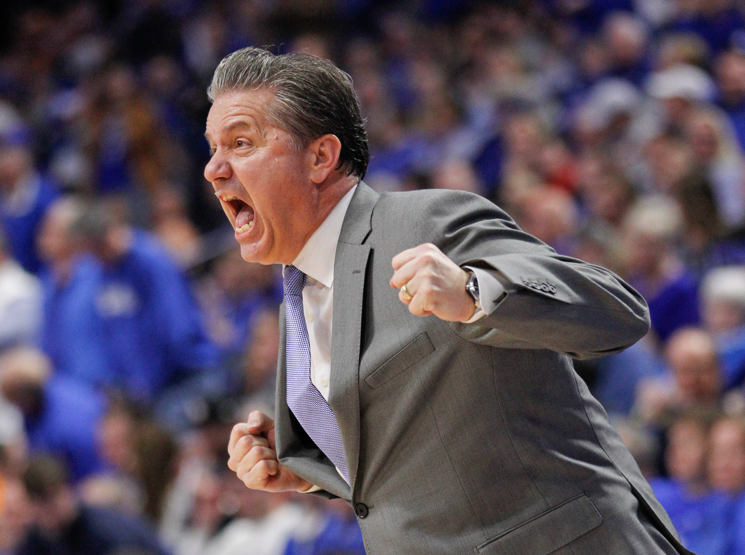 Feb. 16: Kentucky Wildcats head coach John Calipari reacts during the second half against the Tennessee Volunteers at Rupp Arena.