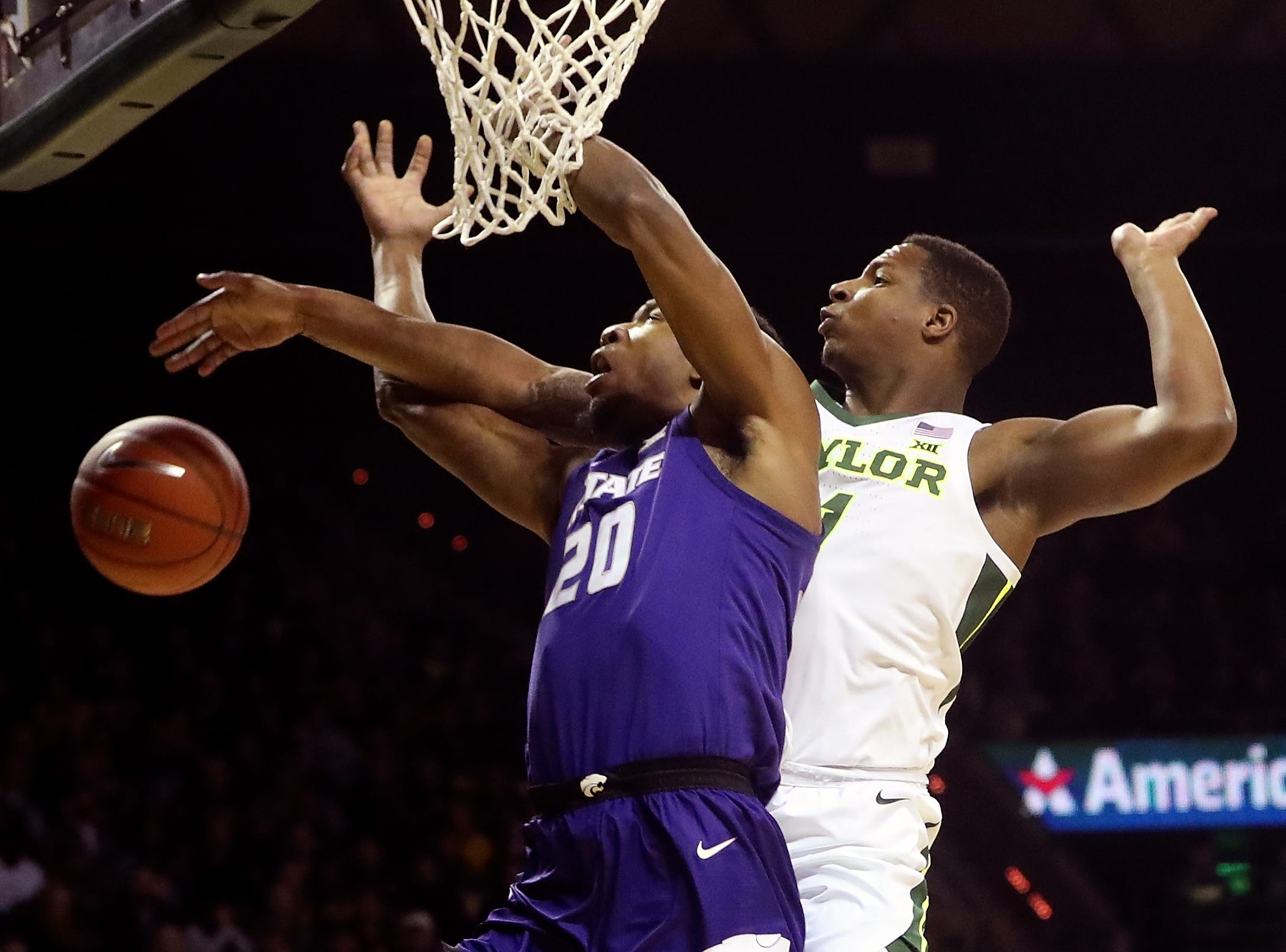 Feb. 9: Baylor Bears guard Mark Vital (11) blocks the shot of Kansas State Wildcats forward Xavier Sneed (20) during the first half at Ferrell Center.