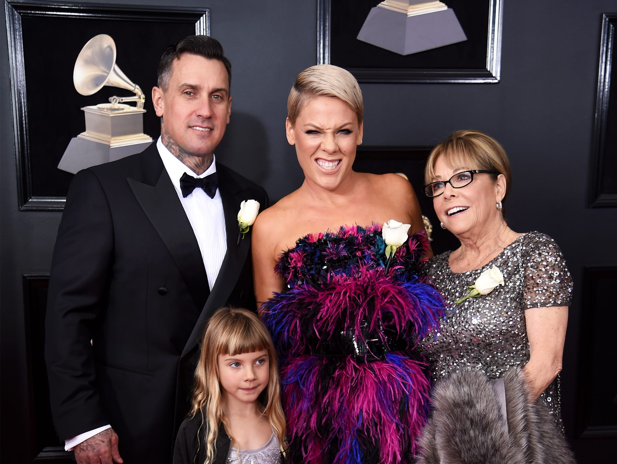 (L-R) Carey Hart, Willow Sage Hart, recording artist Pink and Judith Moore attends the 60th Annual GRAMMY Awards at Madison Square Garden on January 28, 2018 in New York City.