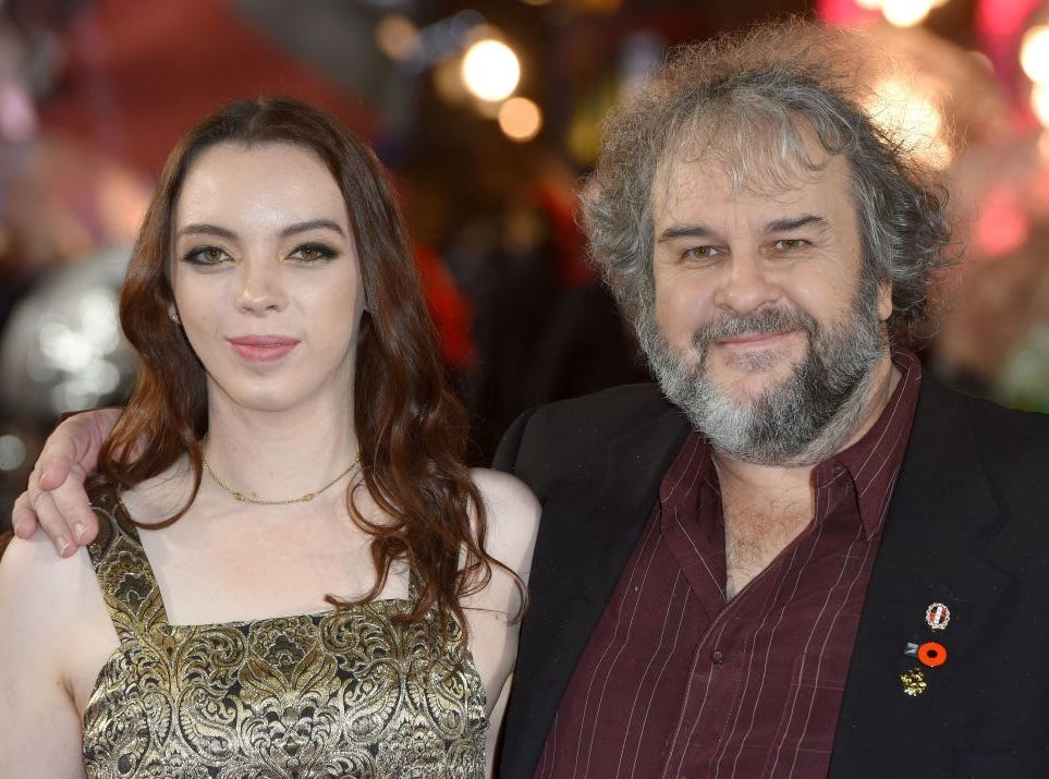 "New Zealand film director Peter Jackson (R) and his daughter Kaite Jackson pose upon arrival to attend the World Premiere of the film ""Mortal Engines"" in London on November 27, 2018."