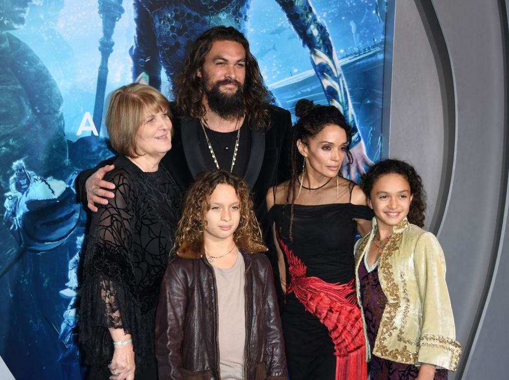 "(L-R) Coni Momoa, actor Jason Momoa, his son Nakoa-Wolf Manakauapo Namakaeha Momoa, his wife actress Lisa Bonet and daughter Lola Iolani Momoa arrive for the world premiere of ""Aquaman"" at the TCL Chinese theatre in Hollywood on December 12, 2018."