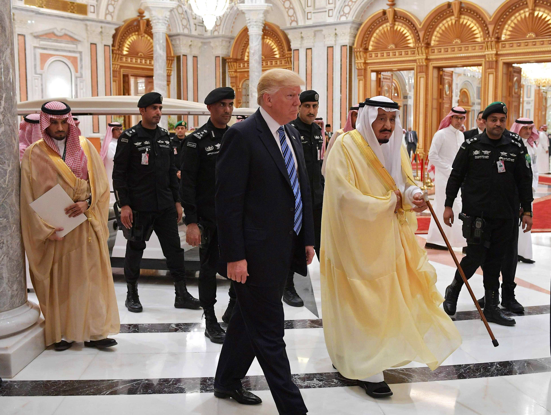 President Trump and Saudi Arabia's King Salman bin Abdulaziz al-Saud arrive for the Arabic Islamic American Summit at the King Abdulaziz Conference Center in Riyadh, Saudi Arabia on May 21, 2017.