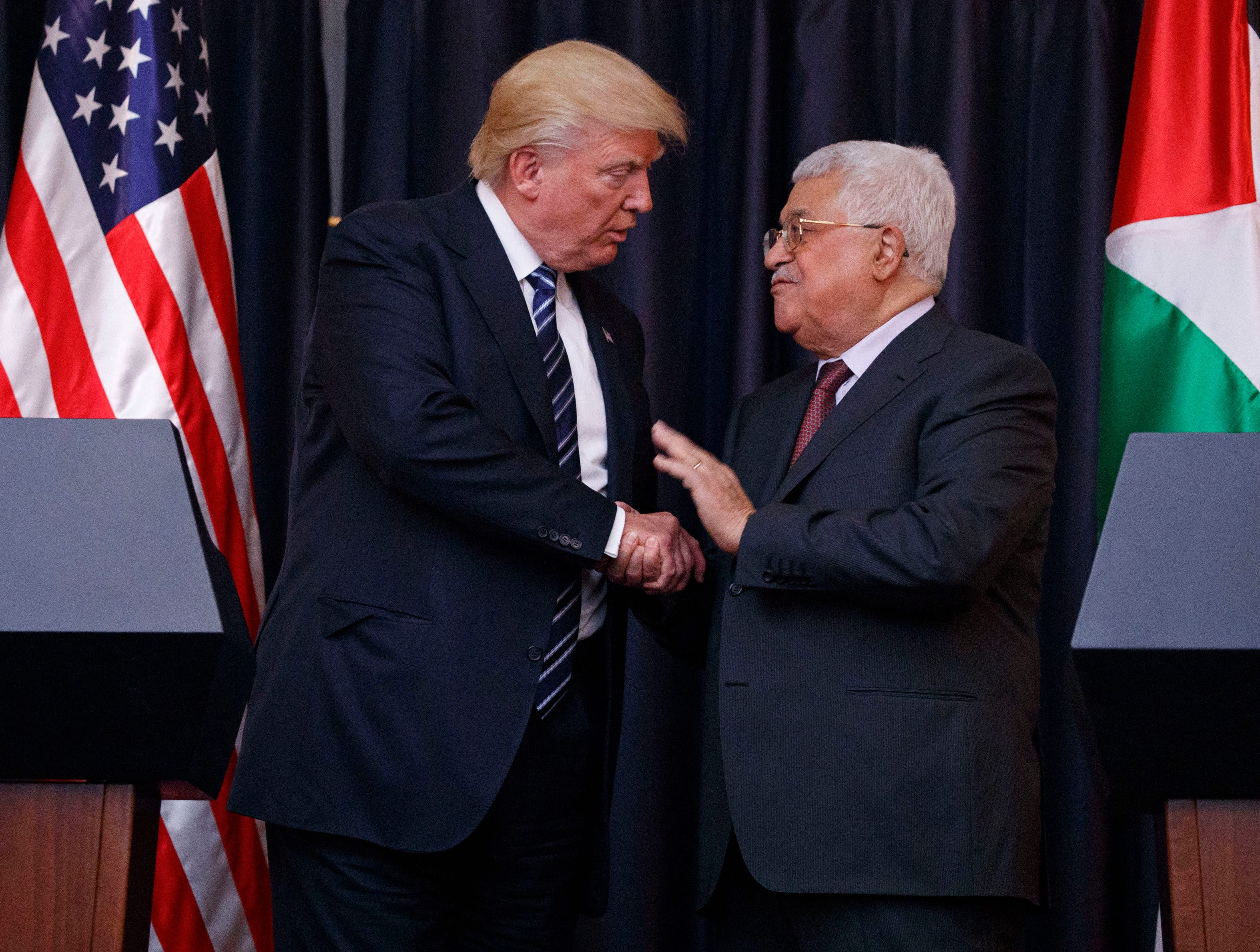 President Trump shakes hands with Palestinian President Mahmoud Abbas after making statements to the press in the West Bank City of Bethlehem on May 23, 2017.