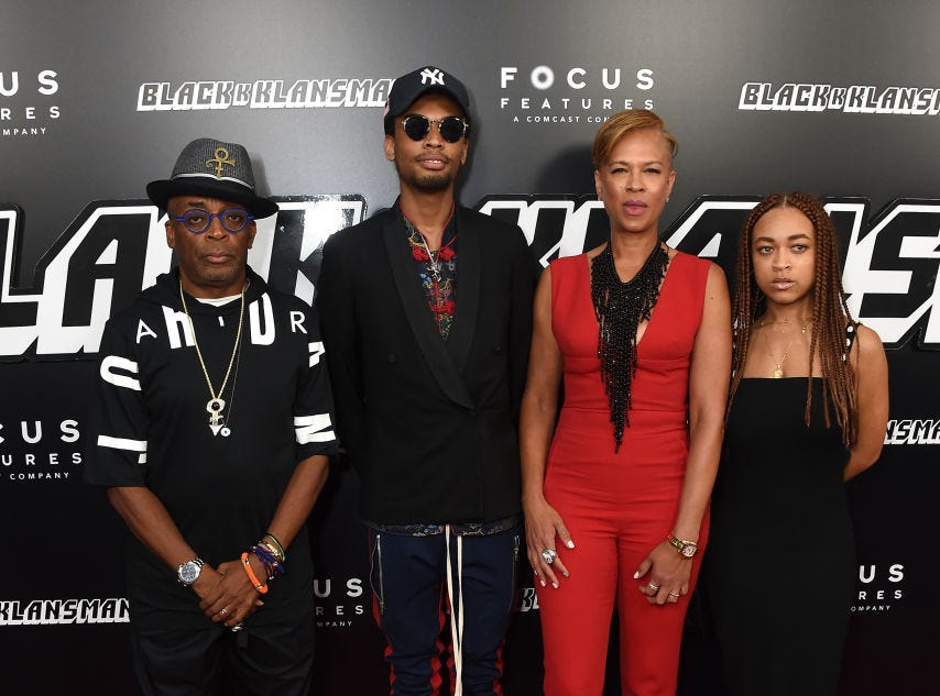"(L-R) Spike Lee, Jackson Lee, Tonya Lewis Lee and Satchel Lee attend the ""BlacKkKlansman"" New York Premiere at Brooklyn Academy of Music on July 30, 2018 in New York City."