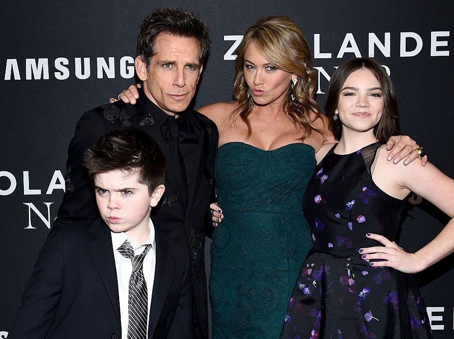 "(L-R) Quinlin Stiller, Ben Stiller, Christine Taylor and Ella Stiller attend the ""Zoolander 2"" World Premiere  at Alice Tully Hall on February 9, 2016 in New York City."
