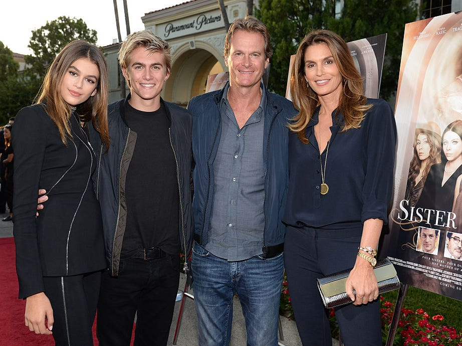(L-R) Actress Kaia Gerber, model Presley Gerber, businessman Rande Gerber and model Cindy Crawford attend the premiere of Lifetime's 'Sister Cities' at Paramount Theatre on August 31, 2016 in Hollywood, California.
