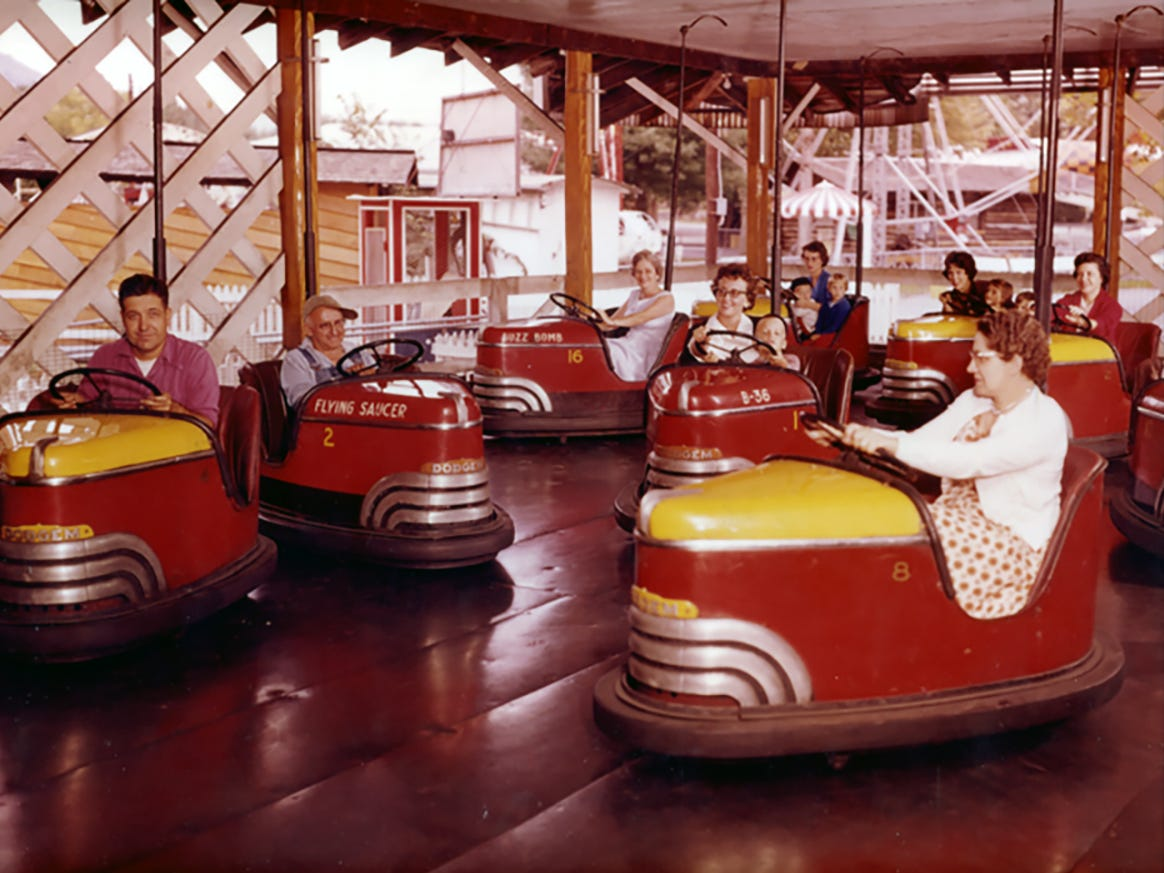 Late 1940s-era Dodgems cars at Knoebels. Members of the Knoebel family are among the passengers, including Pete Knoebel at the far left.