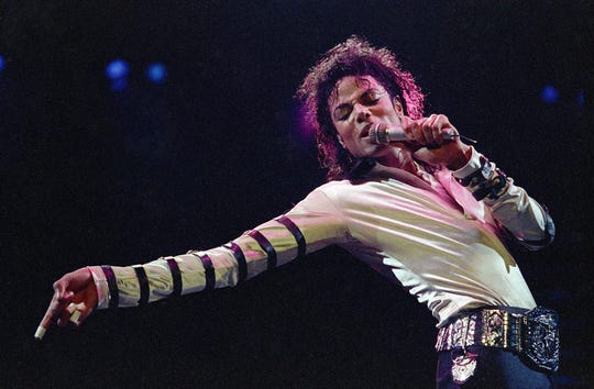 "Michael Jackson performing on his ""Bad"" world tour in 1988."