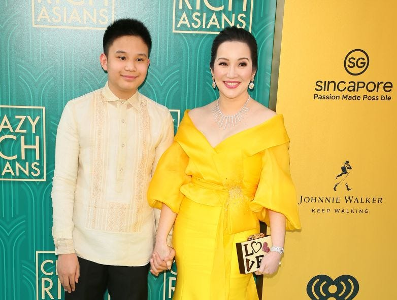 "Actress Kris Aquino (R) and her son actor Bimby Aquino Yap attend the premiere of Warner Bros Pictures' ""Crazy Rich Asians"" in Hollywood, California, on August 7, 2018."