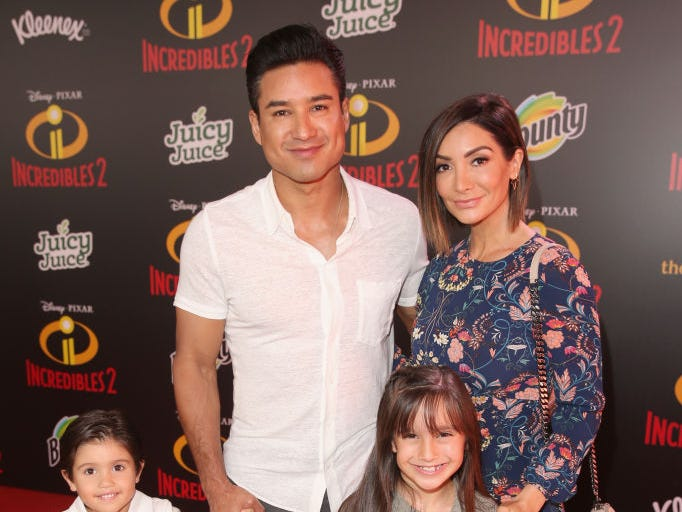 "(L-R) Dominic Lopez, Mario Lopez, Gia Francesca Lopez, and Courtney Laine Mazza attend the World Premiere Of Disney-Pixar's ""Incredibles 2"" at El Capitan Theatre on June 5, 2018 in Los Angeles, California."