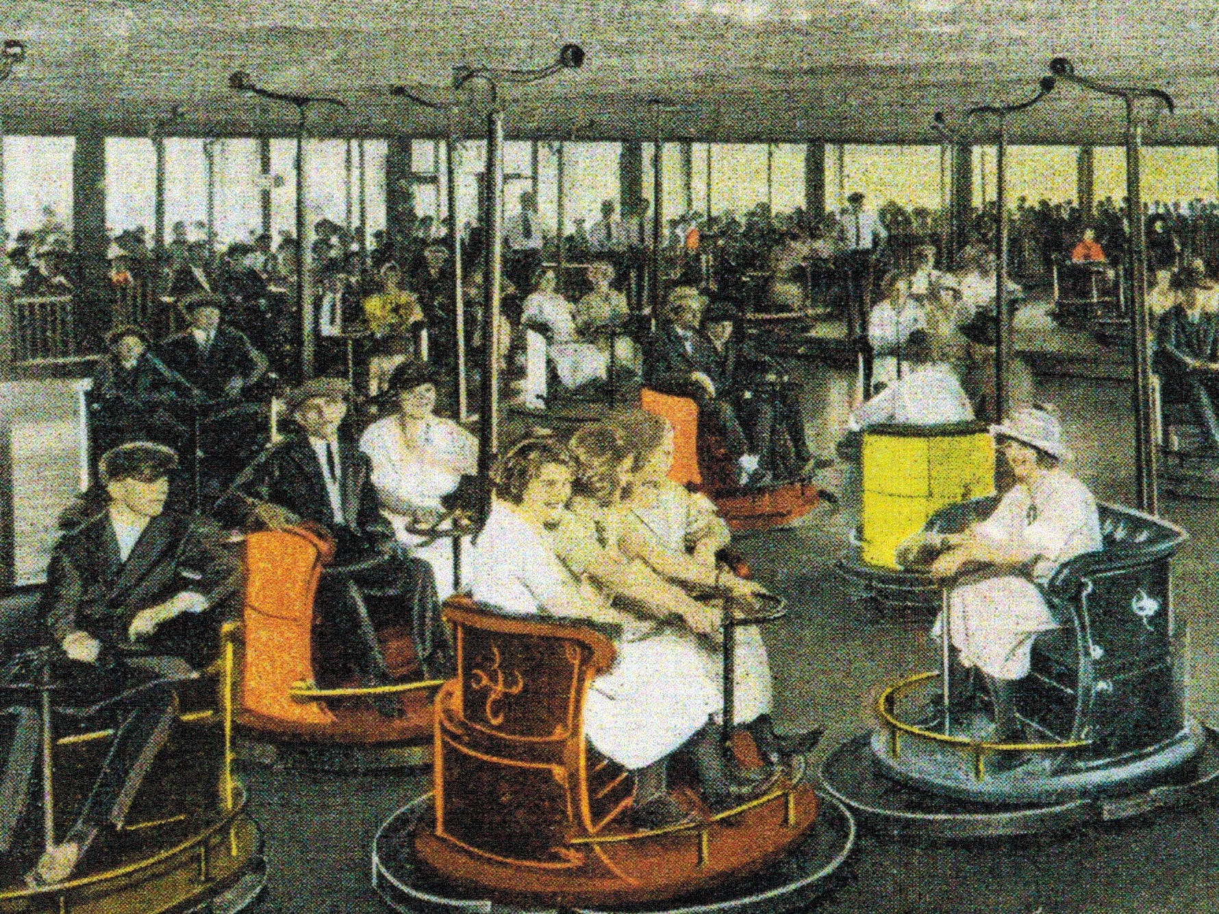 The bumper cars that we know today can be traced back about 100 years ago to the Dodgem Corp. in Lawrence, Massachusetts.