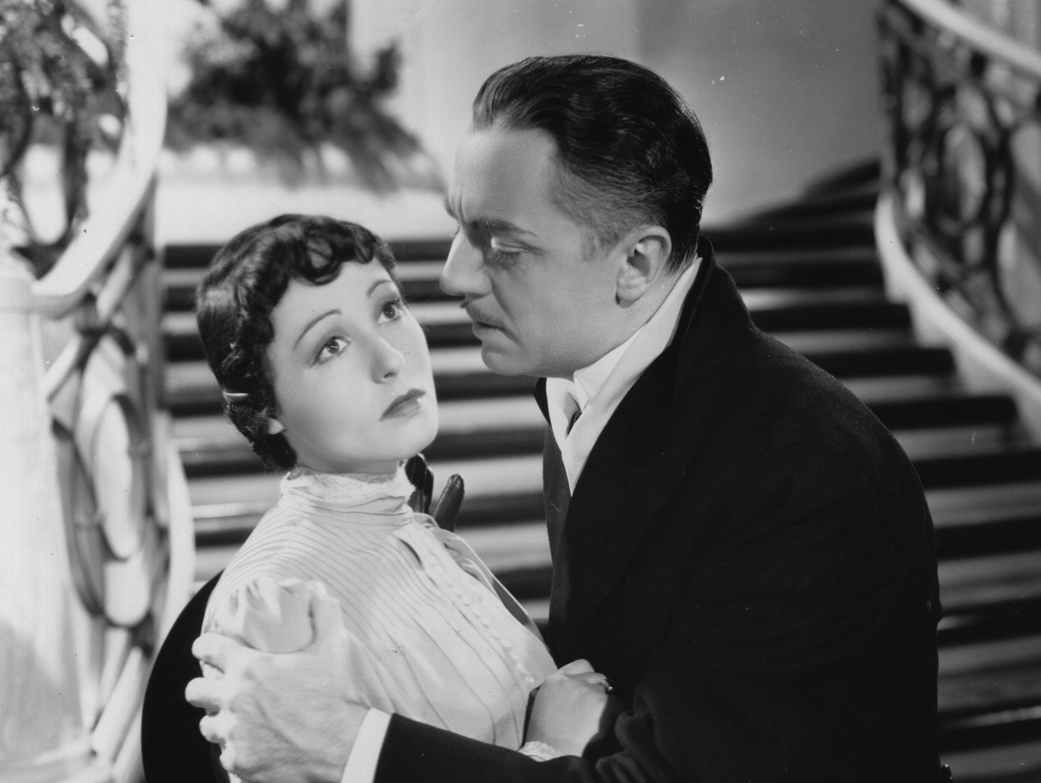 ONE TIME USE 2/21/2019 1936:  William Powell (1892-1984) and Luise Rainer star in the film 'The Great Ziegfeld', a biopic of the Broadway impresario Florenz Ziegfeld.  (Photo by Hulton Archive/Getty Images)