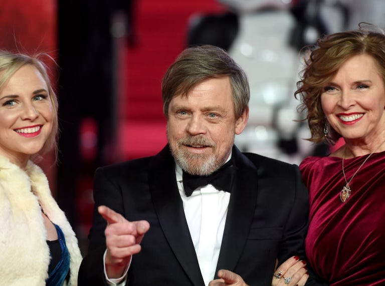 Actor Mark Hamill (C), his wife Marilou York (R) and daughter Chelsea Hamill attend the European Premiere of 'Star Wars: The Last Jedi' at Royal Albert Hall on December 12, 2017 in London, England.