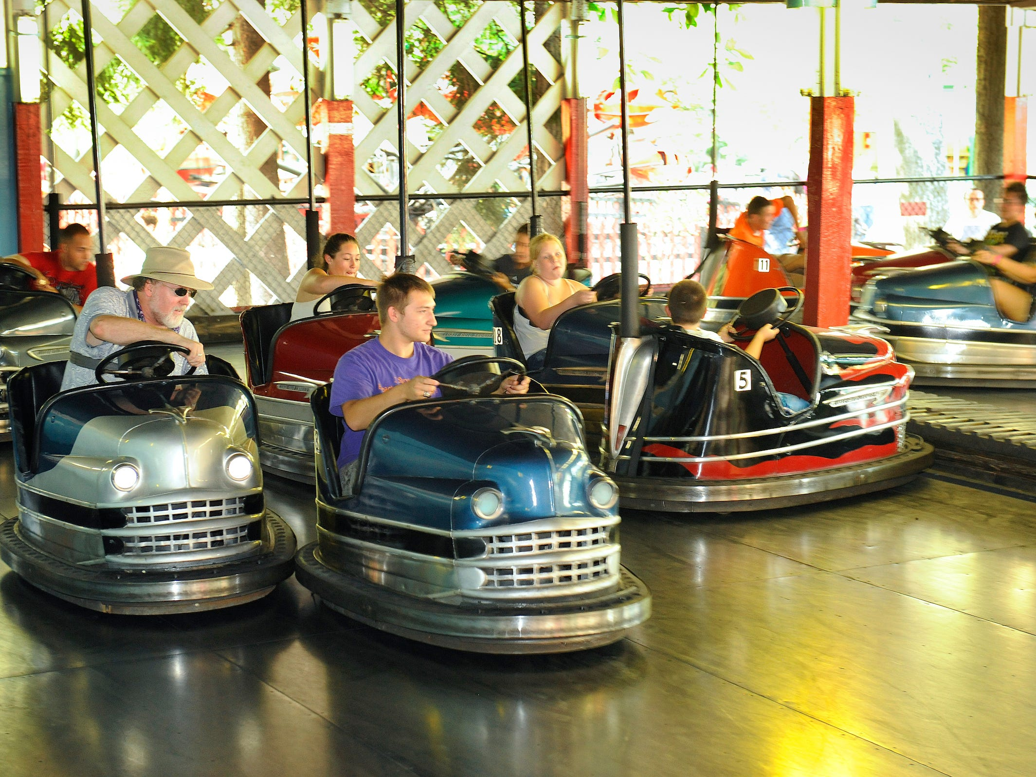 Knoebels still uses classic steel Lusse Auto Skooter cars.