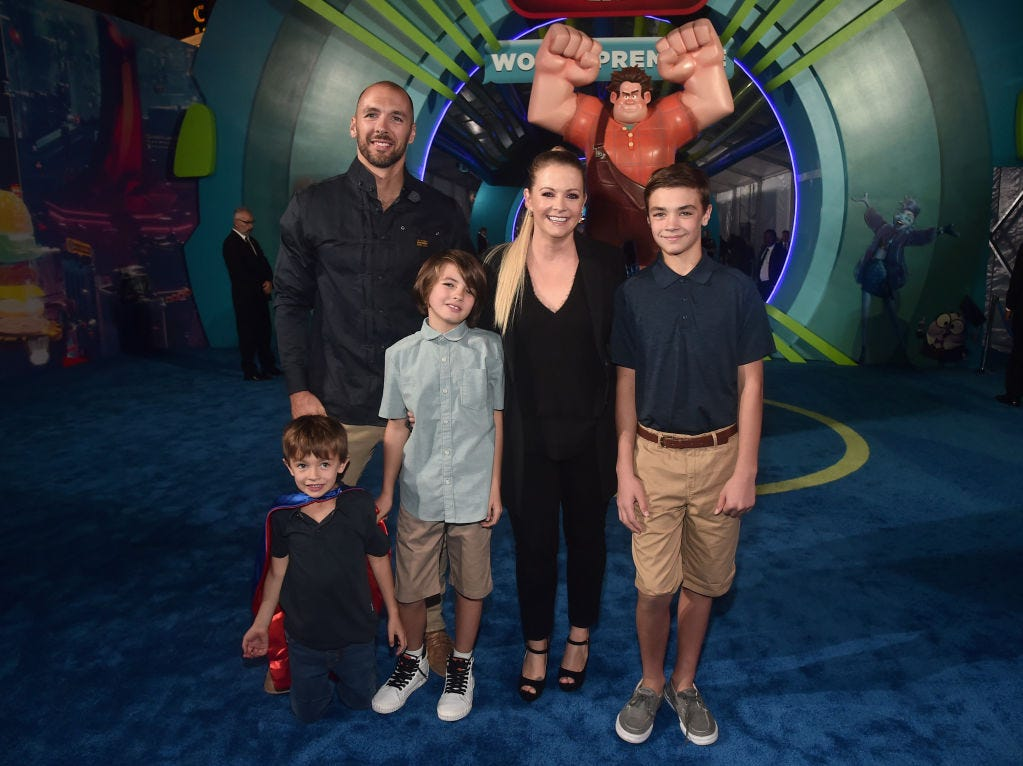 "(L-R) Tucker McFadden Wilkerson, Mark Wilkerson, Braydon Hart Wilkerson, Melissa Joan Hart, and Mason Walter Wilkerson attend the World Premiere of Disney's ""RALPH BREAKS THE INTERNET"" at the El Capitan Theatre on November 5, 2018 in Hollywood, California."