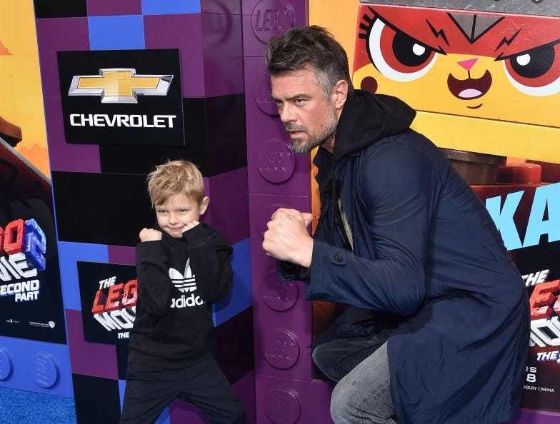 "Josh Duhamel and his son Axl Jack Duhamel arrive for the premiere of ""The Lego Movie 2: The Second Part"" at the Regency Village theatre on February 2, 2019 in Westwood, California."