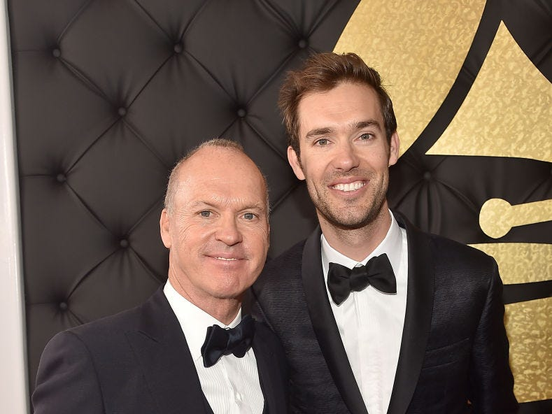 Actor Michael Keaton and son Sean Douglas attend The 59th GRAMMY Awards at STAPLES Center on February 12, 2017 in Los Angeles, California.