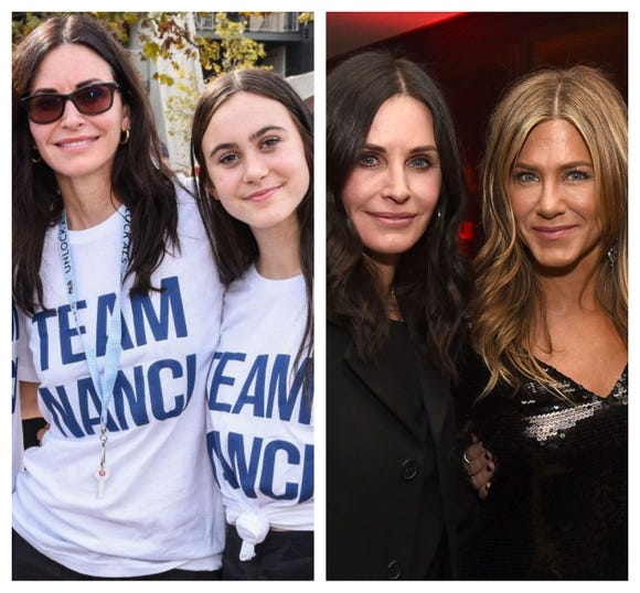 "Courteney Cox said when things got dicey on  Jennifer Aniston's private jet on the way to her 50th birthday celebration in Mexico, she texted her daughter, ""I love you."""