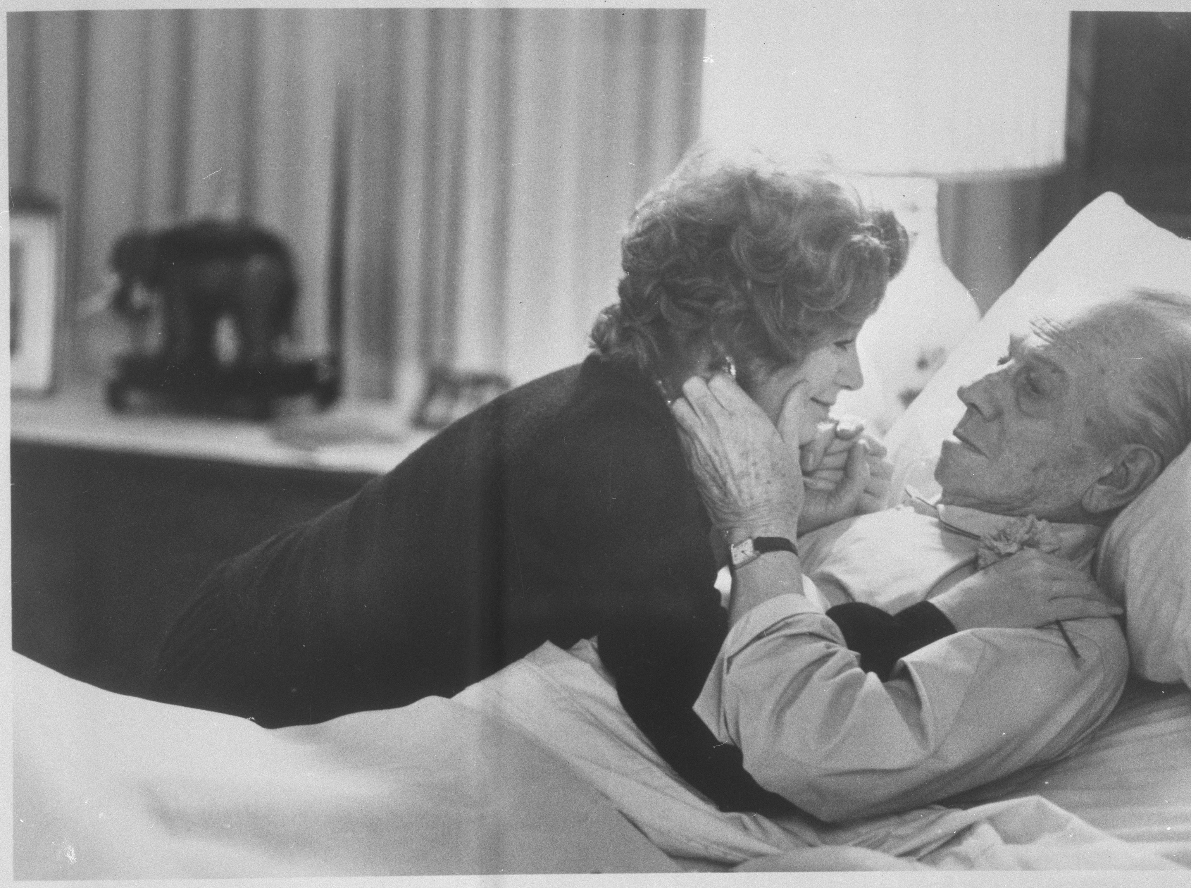 ONE TIME USE 2/21/2019 Melvyn Douglas, in the role of ailing financier Benjamin Rand, shares a tender moment with Shirley MacLaine, who plays his wife, Eve Rand in the film Being There. It was announced that Douglas is one of those nominated for an Academy Award in the best supporting actor category because of his work in the film. He won an Oscar in the same category for his work in Hud in 1963.
