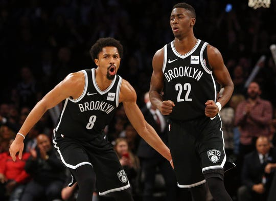 Caris LeVert (22) is back on the court for the Nets, and Spencer Dinwiddie (8) is expected to return soon.