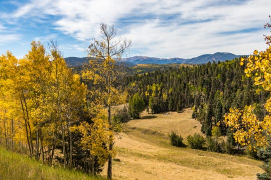 Green and gold landscape with distant mountains and wispy cloudy sky in Carson National Forest, north of Taos, NM,