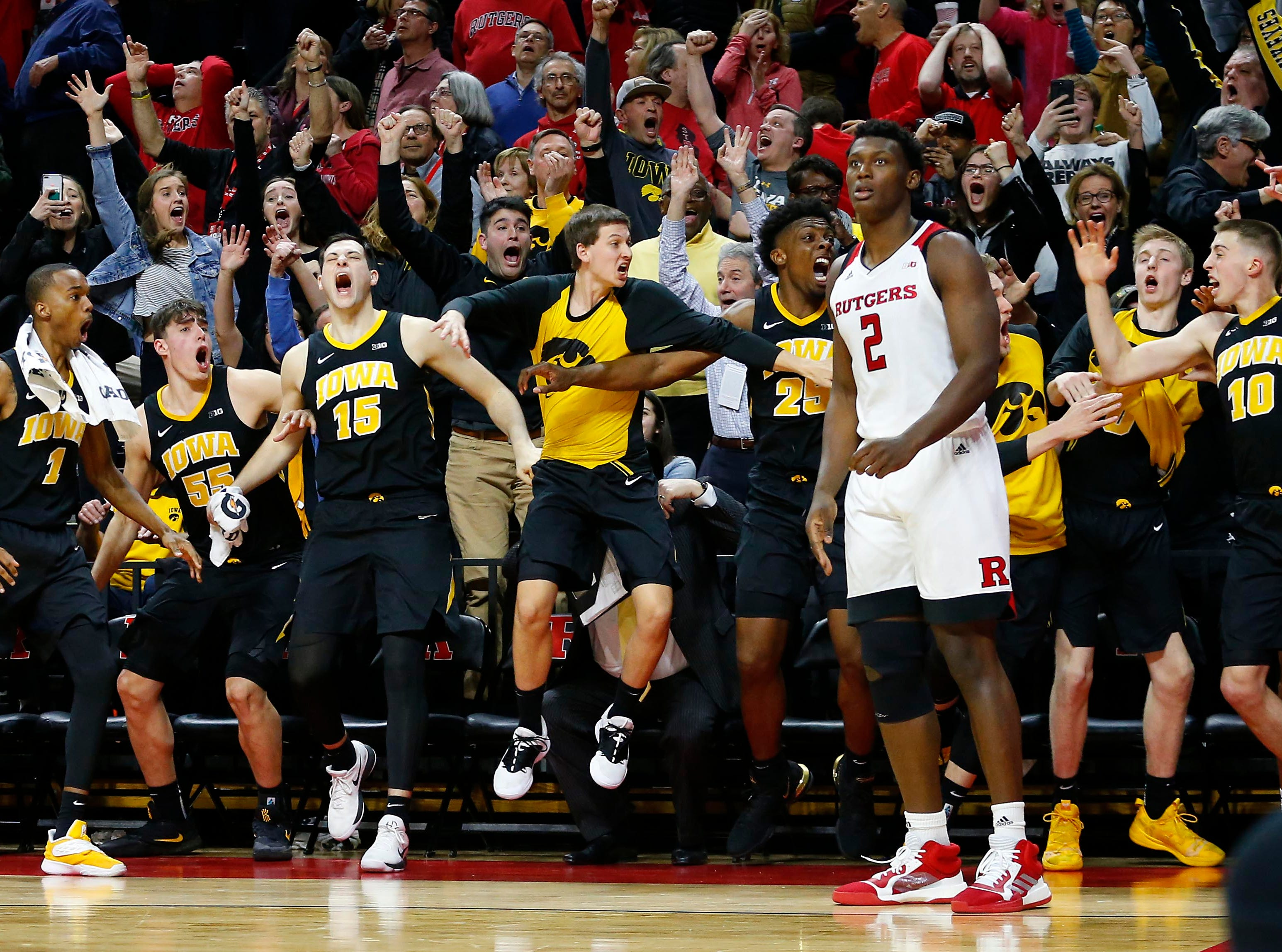 Feb. 16: Rutgers Scarlet Knights center Shaquille Doorson (2) reacts after Iowa Hawkeyes guard Joe Wieskamp (10) banked in the game-winning 3-pointer at the buzzer at Rutgers Athletic Center (RAC).