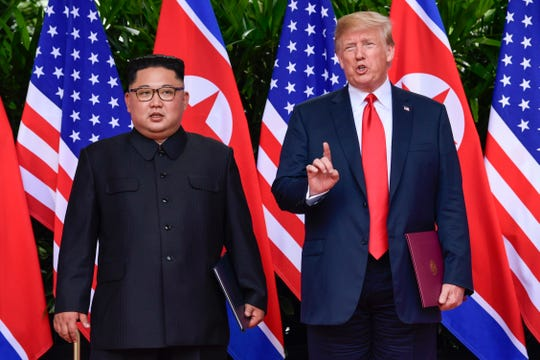 President Donald Trump and North Korea's Kim Jong Un in Singapore in June.