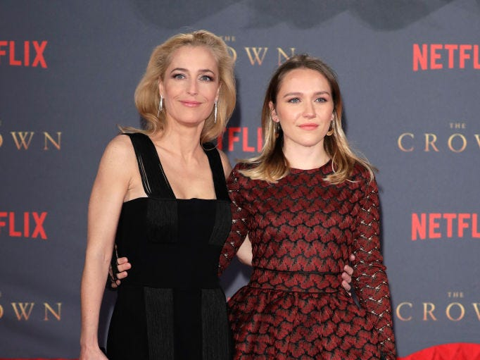 "Actress Gillian Anderson and her daughter Piper Maru Klotz attend the World Premiere of season 2 of Netflix ""The Crown"" at Odeon Leicester Square on November 21, 2017 in London, England."