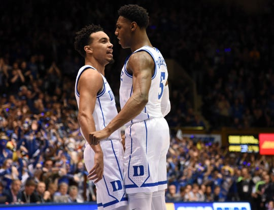 Duke guard Tre Jones and forward R.J. Barrett could be key catalysts in trying to fill a void without Zion Williamson.