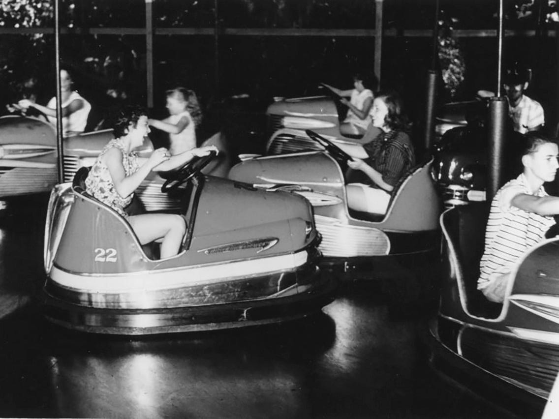 Idlewild, a park in Ligonier, Pennsylvania, that dates back to 1878 and is geared to families with younger children, has offered bumper cars since 1931.