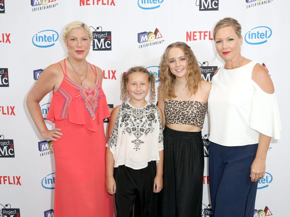 "Actress Tori Spelling (L), daughter Stella McDermott and Jennie Garth (R) and daughter Lola Ray Facinelli attend the Netflix Series ""Project Mc2"" Part 5 Premiere hosted by  Jennie Garth and MGA Entertainment at The London West Hollywood on September 7, 2017 in West Hollywood, California."