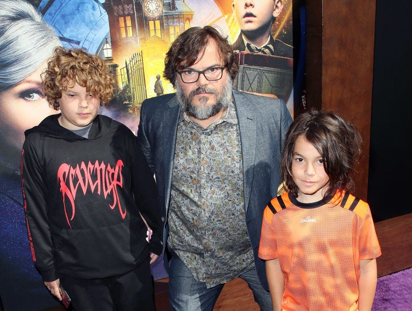 "Jack Black and sons attend the premiere of Universal Pictures' ""The House with a Clock in Its Walls"" at TCL Chinese Theatre IMAX on September 16, 2018 in Hollywood, California."