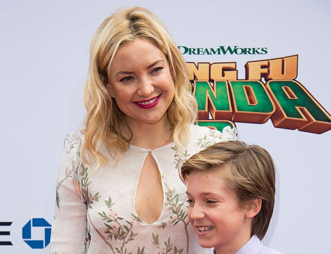 Actress Kate Hudson and sons Ryder Robinson and Bingham Hawn Bellamy attend the Premiere of Kung Fu Panda 3, in Hollywood, California, on January 16, 2015.
