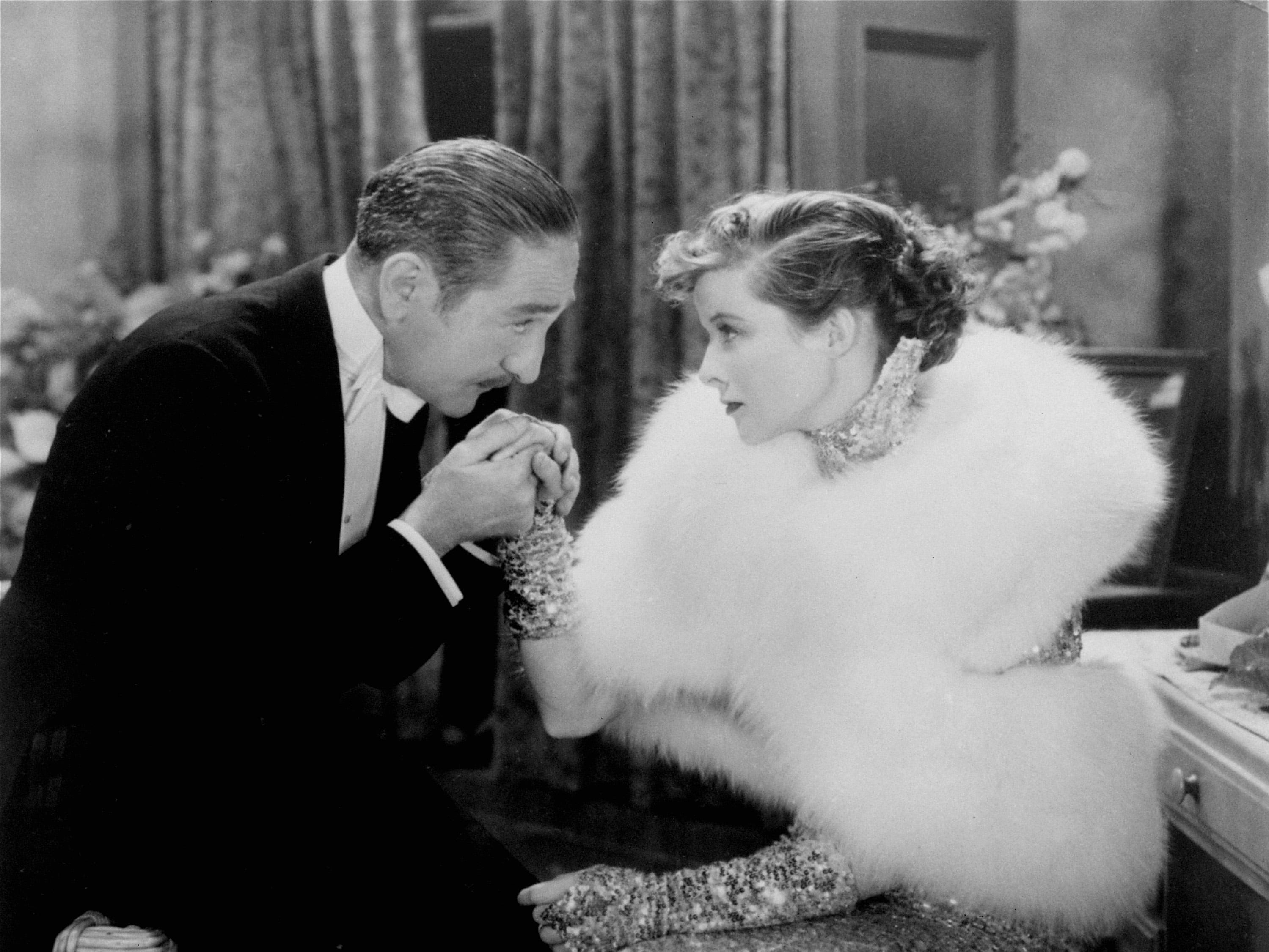 """one-time use only  Hollywood star-to-be Katharine Hepburn and co-star Adolphe Menjou are pictured in the 1933 film, """"Morning Glory.""""  Hepburn won her first Academy Award for her role as a stage struck young actress."""