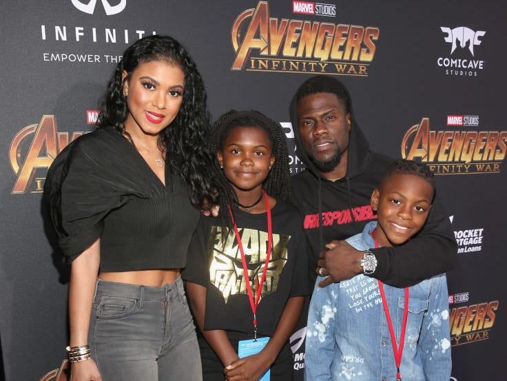 HOLLYWOOD, CA - APRIL 23:  Eniko Parrish, Heaven Hart, actor Kevin Hart and Hendrix Hart attend the Los Angeles Global Premiere for Marvel Studios? Avengers: Infinity War on April 23, 2018 in Hollywood, California.  (Photo by Jesse Grant/Getty Images for Disney)