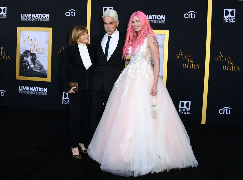 "(L-R) Actress Katharine Ross, actor Sam Elliott and their daughter musician Cleo Rose Elliott attend the premiere of ""A star is born"" at the Shrine Auditorium in Los Angeles, California on September 24, 2018."